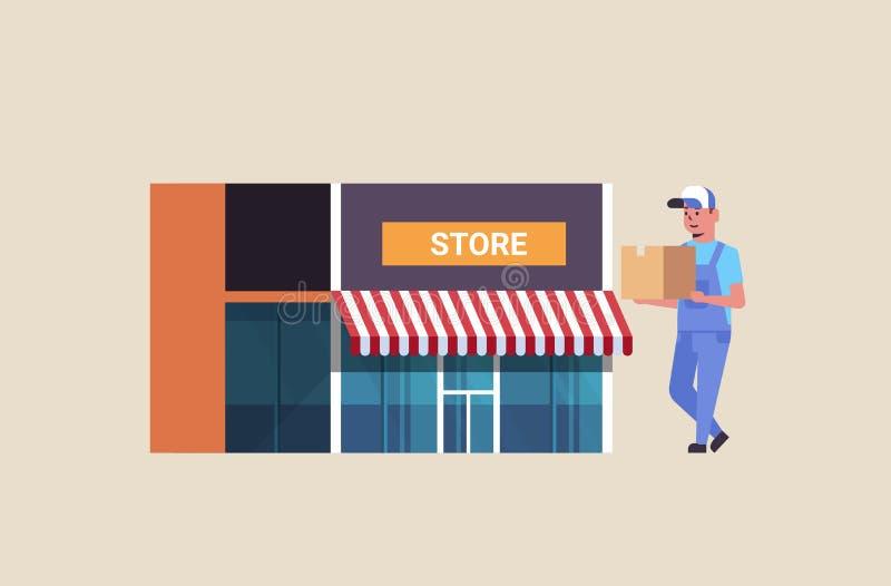 Listonosz w jednolitego przewożenie pakuneczka pudełka kartonowego kuriera doręczeniowej usługi pojęcia sklepu budynku ekspresowe ilustracja wektor
