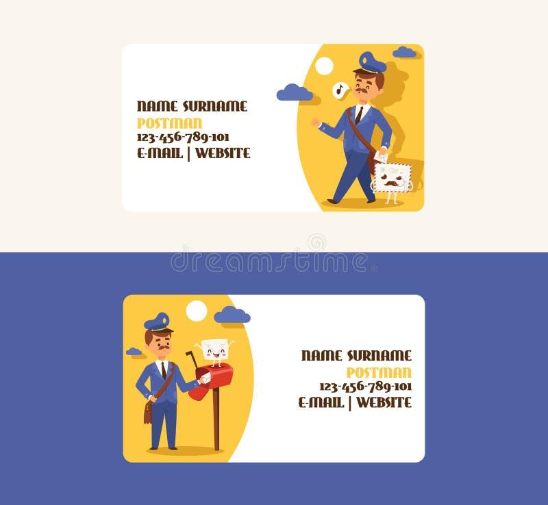 Listonosz wizytówki wektorowy mailman dostarcza poczty w postbox lub charakteru tła ludziach skrzynki pocztowej i poczty ilustracji