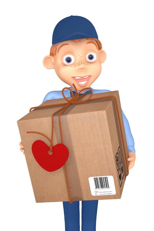 Listonosz z pocztowym pakuneczkiem ilustracja wektor