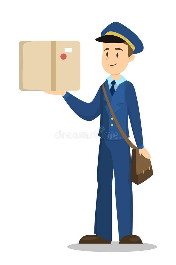 Listonosz z pudełkiem royalty ilustracja