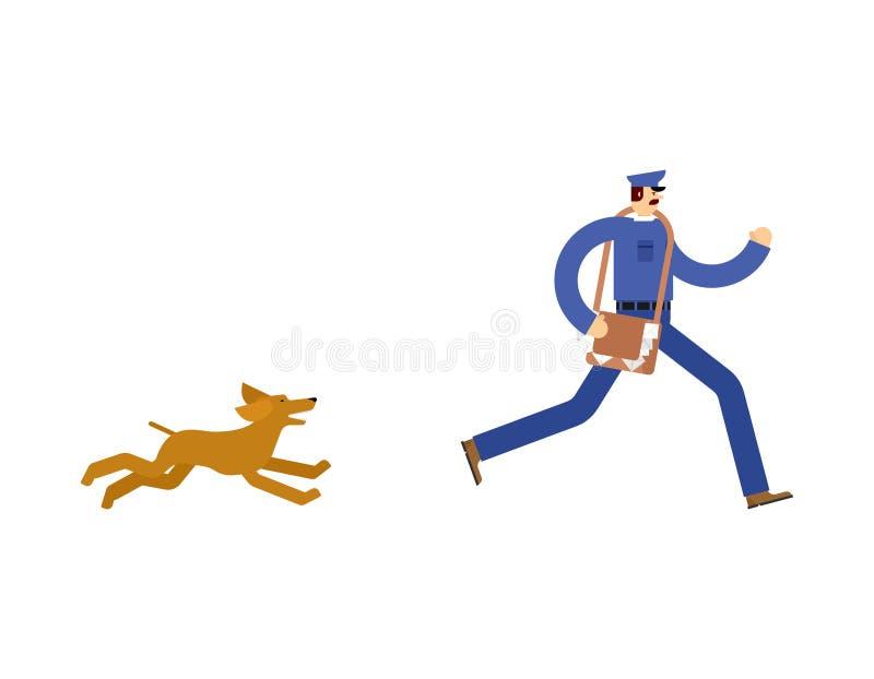 Listonosza bieg zdala od psa Mailman bieg zdala od zwierzęcia domowego ilustracji