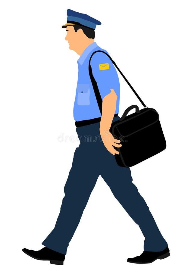 Listonosza lub mailman odprowadzenie na obowiązku wektorze ilustracja wektor