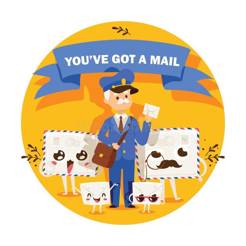 Listonosza wektorowy mailman dostarcza poczty w postbox lub skrzynki pocztowej i poczty charakteru ludzie niosą mailed listy wewn ilustracji