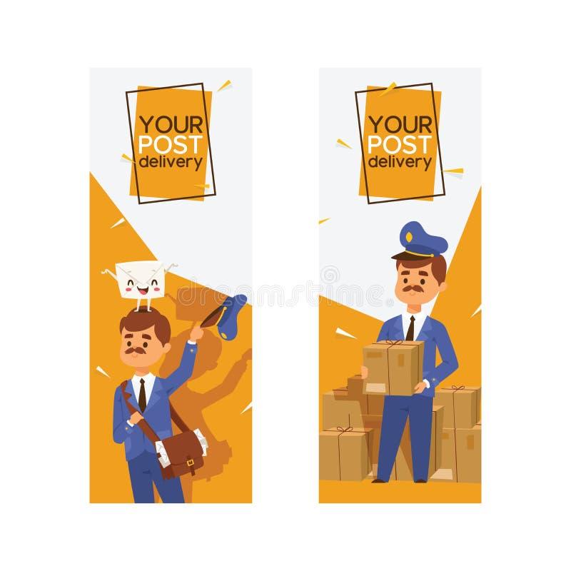 Listonosza wektorowy mailman dostarcza poczty w postbox lub skrzynki pocztowej i poczty charakteru ludzie niosą mailed listy wewn royalty ilustracja
