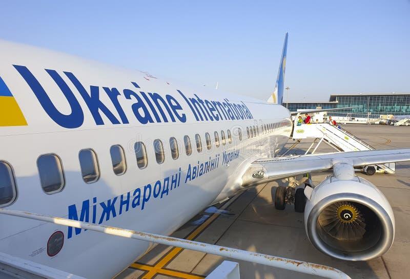 Listopad 7, Egipt Hurghada samolot linii lotniczych Ukraina International Airlines obrazy royalty free