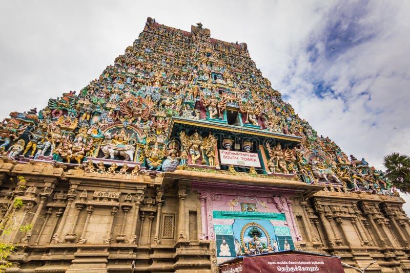 Listopad 13, 2014: Meenakshi Amman Hinduska świątynia w Madurai, obrazy royalty free