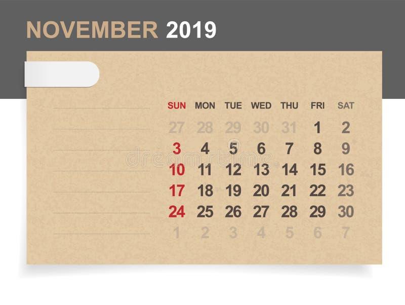 Listopad 2019 - miesięcznika kalendarz na brown papieru i drewna tle royalty ilustracja