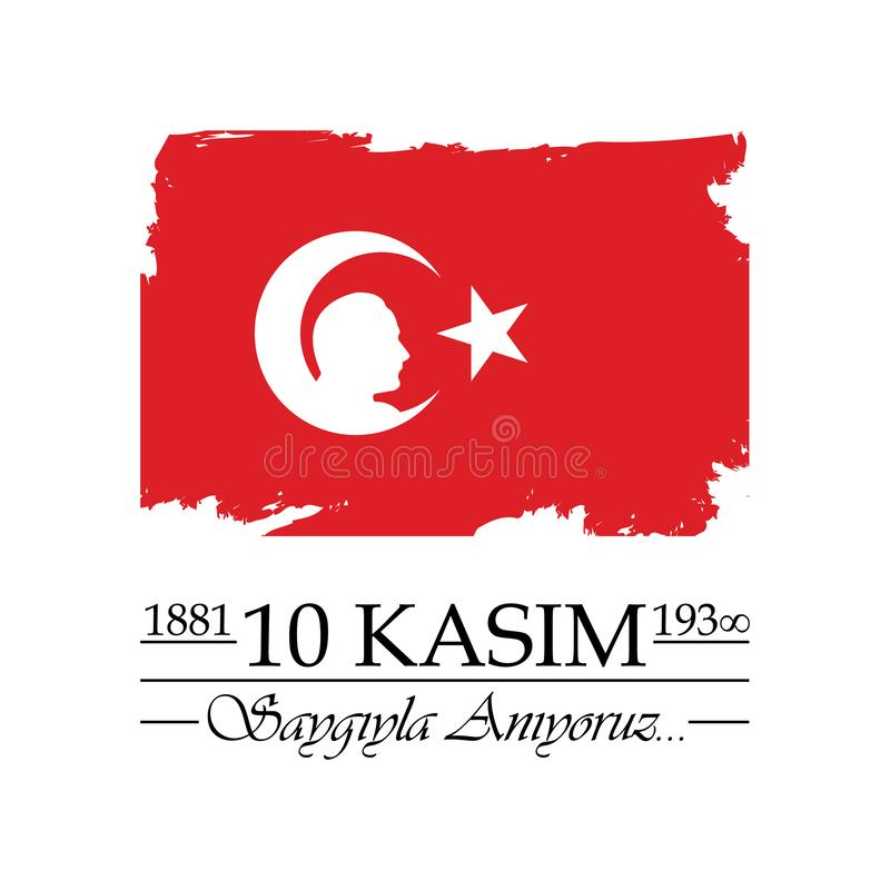 10 Listopad, Mustafa Kemal Ataturk dnia Śmiertelna rocznica ilustracji