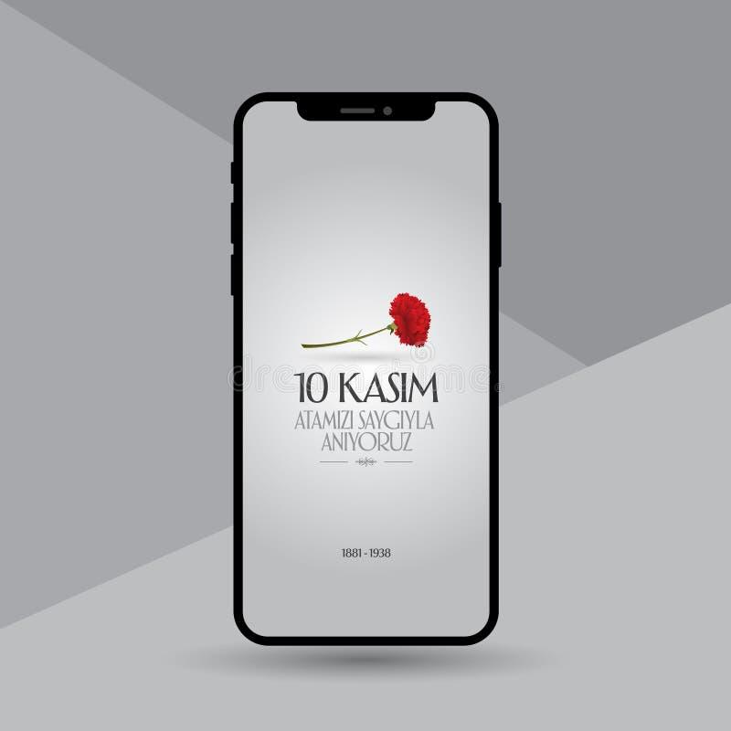 10 Listopad, Mustafa Kemal Ataturk dnia Śmiertelna rocznica Dzień pamięci Ataturk Billboarda projekt ilustracja wektor