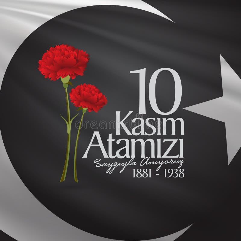 10 Listopad, Mustafa Kemal Ataturk dnia Śmiertelna rocznica Dzień pamięci Ataturk Billboarda projekt royalty ilustracja