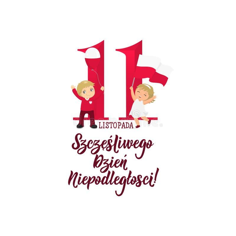 11 Listopad, Polska dnia niepodległości Szczęśliwy kartka z pozdrowieniami royalty ilustracja