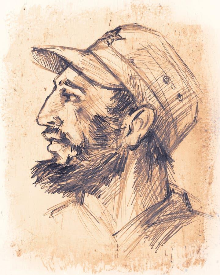 Listopad 26, 2016 Portret Fidel Castro Kubański polityk, r ilustracja wektor