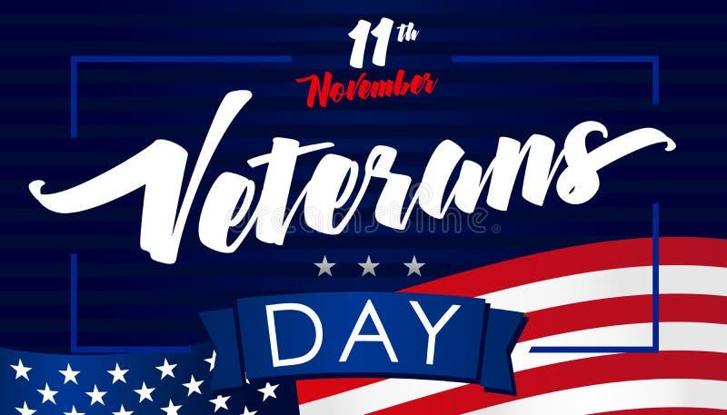 Listopad 11, weterana dnia usa flagi sztandar royalty ilustracja