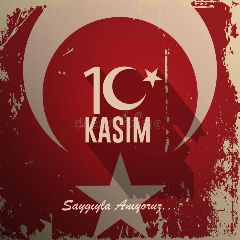 Listopad 10 założyciel republika Turcja M K Ataturk ` s śmierci rocznica Angielszczyzny: Listopad 10, 1881-1938 Turecczyzna Fl ilustracja wektor