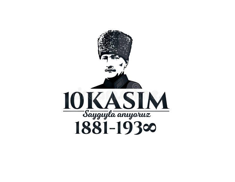 Listopadu 10 śmierci dzień Mustafa Kemal Ataturk ilustracja wektor