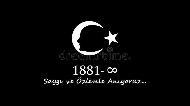 Listopadu 10 Ataturk uczczenia dzień royalty ilustracja