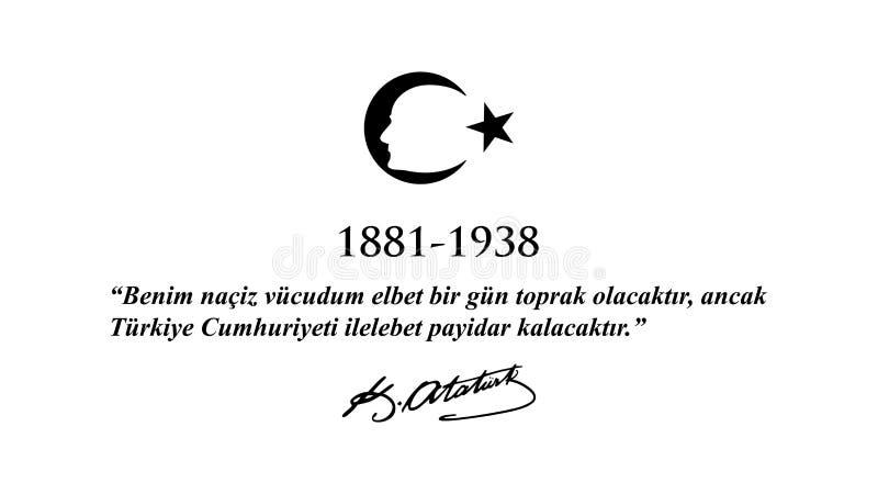 Listopadu 10 Ataturk uczczenia dzień ilustracja wektor