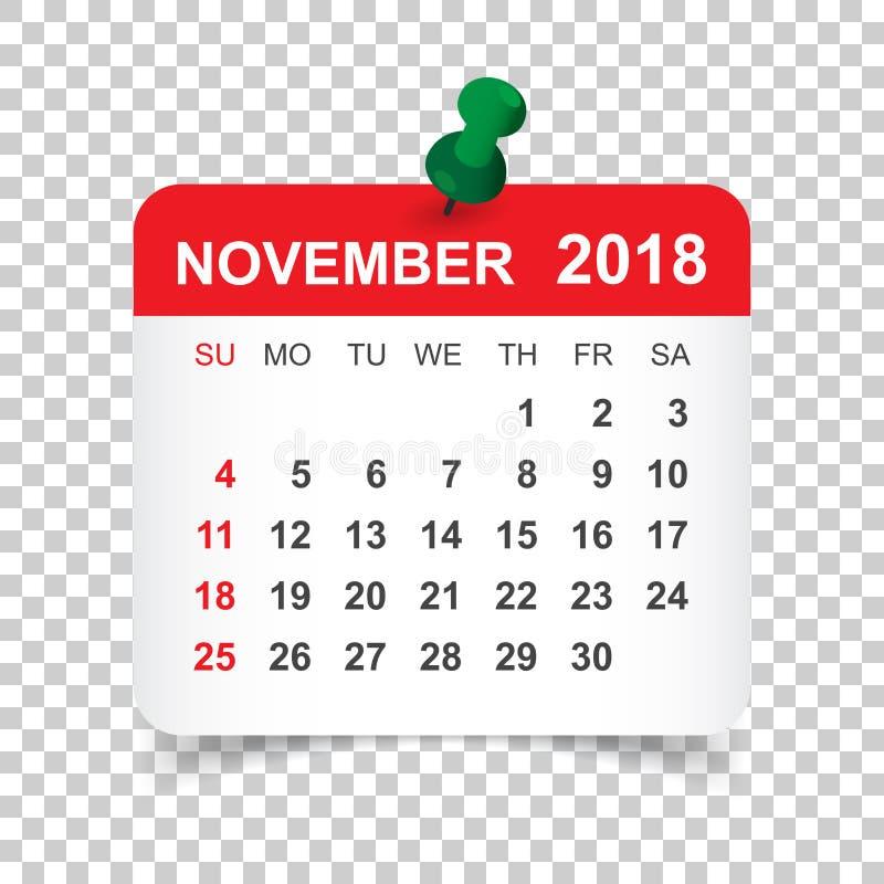 Listopadu 2018 kalendarz Kalendarzowy majcheru projekta szablon Tydzień s royalty ilustracja