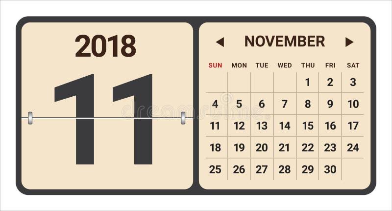 Listopadu 2018 kalendarzowa wektorowa ilustracja ilustracji