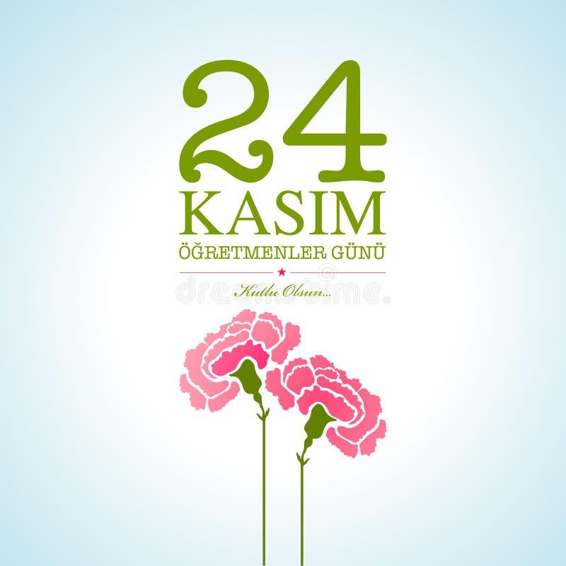Listopadu 24 nauczycieli Tureckiego dnia karciany projekt Angielski translati royalty ilustracja