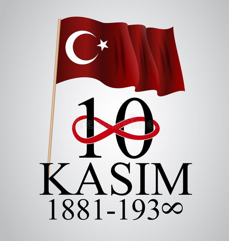 10 Listopadu założyciel republika Indycza Mustafa Kemal Ataturk śmierci rocznica Angielszczyzny: Listopad 10, 1881-1938 ilustracja wektor