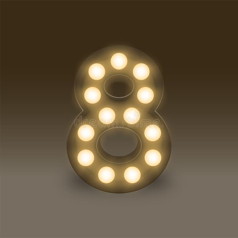 Listowa liczba osiem, 8 w abecadło żarówki pudełka Płonącym secie lub, ilustracyjny retro styl odizolowywająca 3D łuna w zmroku royalty ilustracja