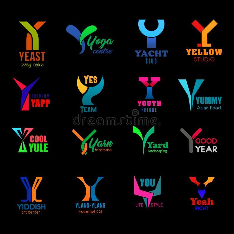 Listowe Y korporacyjnej tożsamości kreatywnie ikony, znaki royalty ilustracja