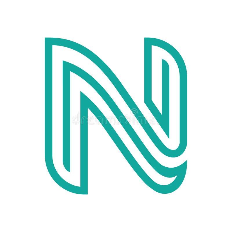 Listowego N zieleni logo linii mieszkania wektor royalty ilustracja