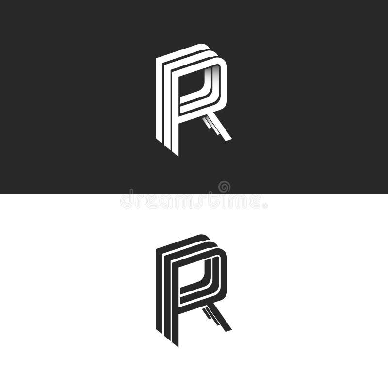 Listowego R logo emblemata RRR symbolu isometric mockup, czarny i biały monograma modnisia projekta elementu szablon Perspektywa  ilustracji