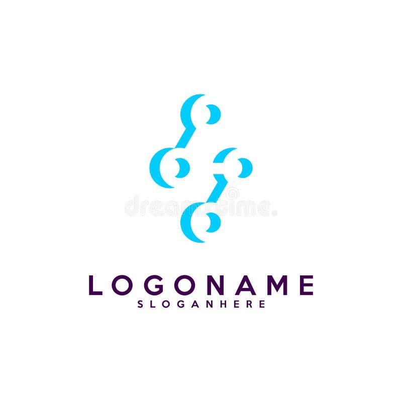 Listowego S logotyp, technologia i cyfrowej abstrakcjonistycznej kropki podłączeniowy wektorowy logo, royalty ilustracja