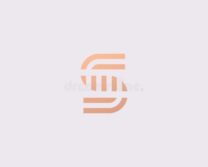 Listowego S wektoru linii loga projekt Kreatywnie minimalizmu logotypu ikony symbol ilustracja wektor