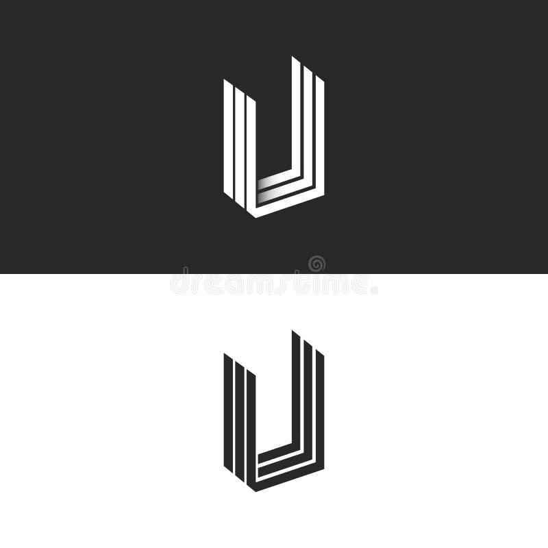 Listowego U logo isometric geometrycznego kształta perspektywiczny monogram, modniś grafika parafuje UUU emblemata mockup, czarny ilustracji