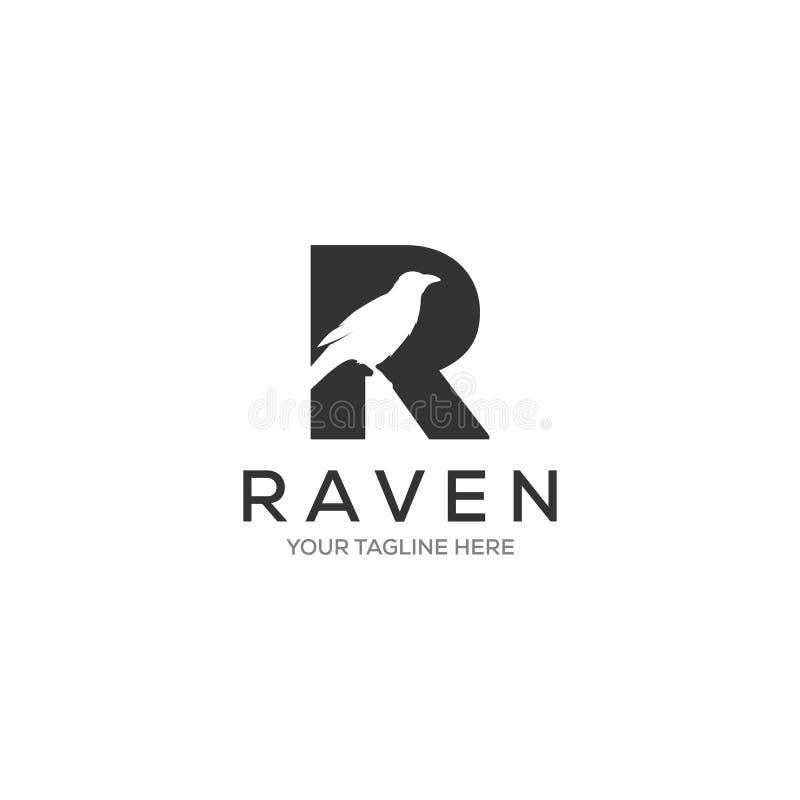 Listowi R kruka logo projekty, minimalistyczny logotyp royalty ilustracja