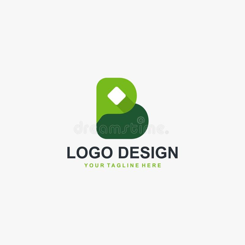 Listowy b loga projekta wektor Zielony typ logo ilustracji