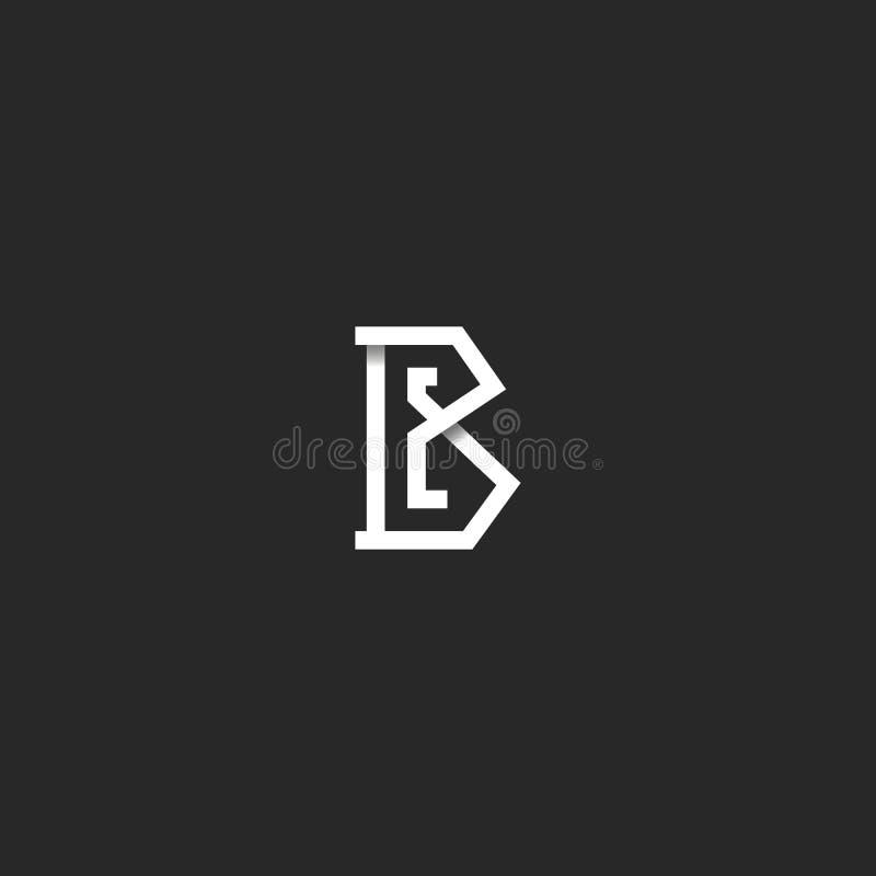 Listowy b logo inicjału monograma pomysł, czarny i biały graniasta pokrywa się linia, prosty emblemata mockup projekta element dl ilustracja wektor