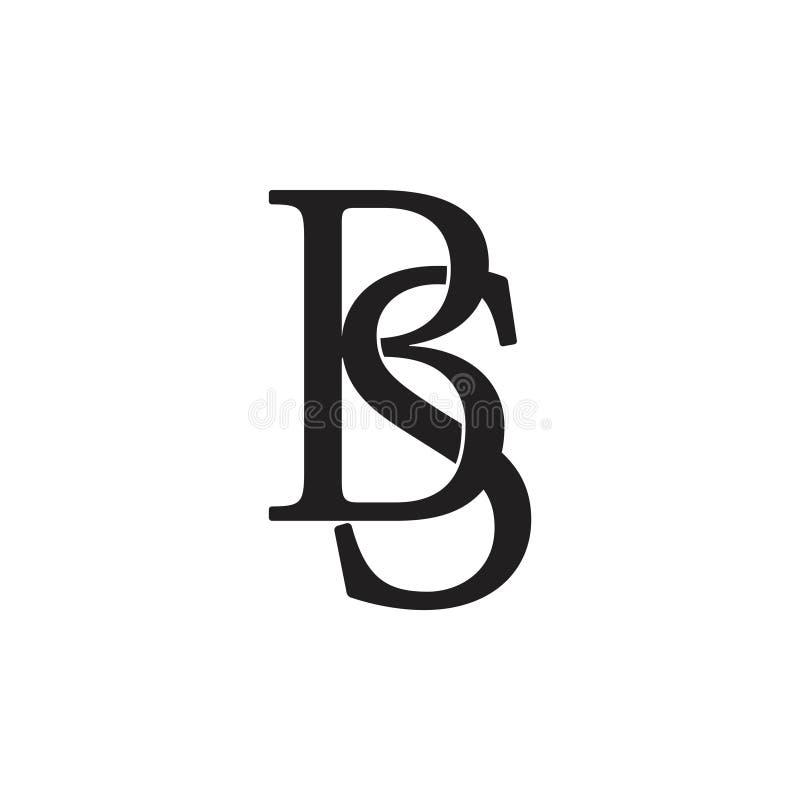 Listowy bs łączący monograma logo wektor ilustracji