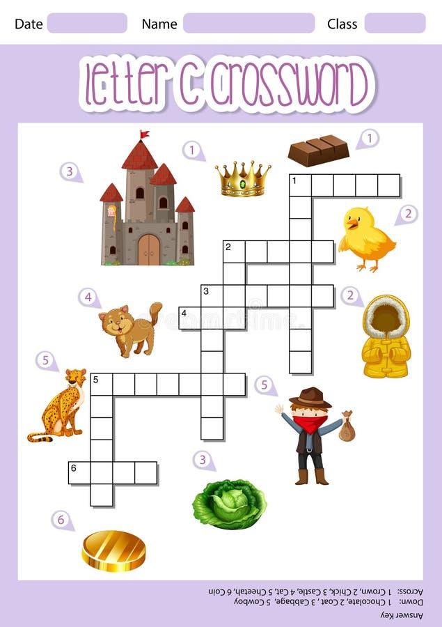 Listowy C crossword szablon ilustracja wektor