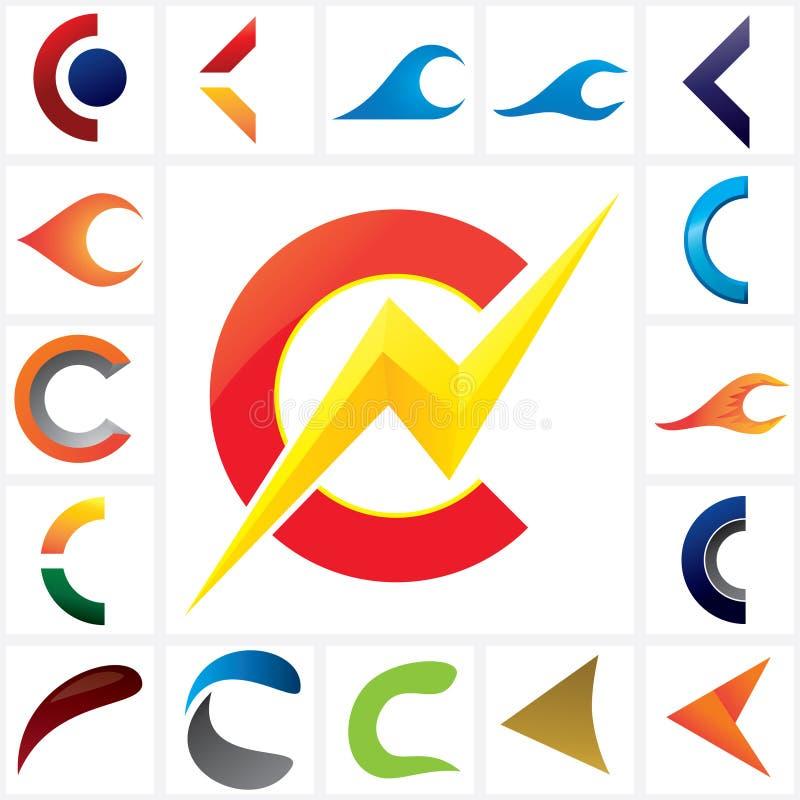 Listowy C Firma loga szablonu set ilustracja wektor