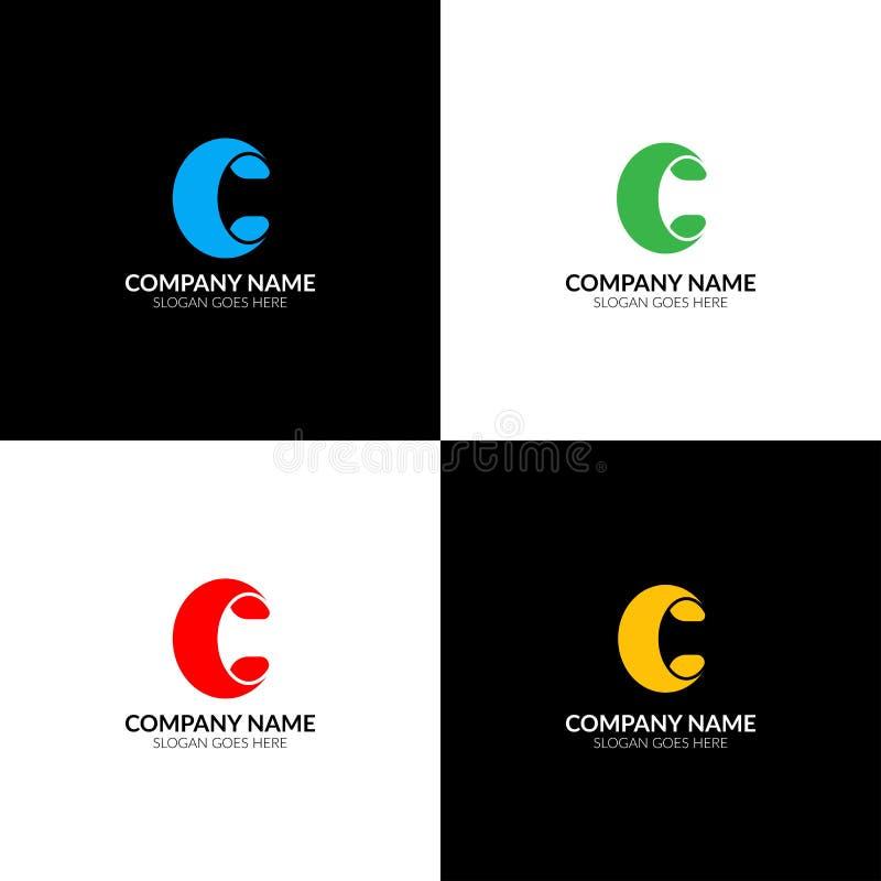 Listowy c logo, ikony mieszkanie i wektorowy projekta szablon, Śmiały listu c logotyp dla gatunku lub firma z tekstem royalty ilustracja