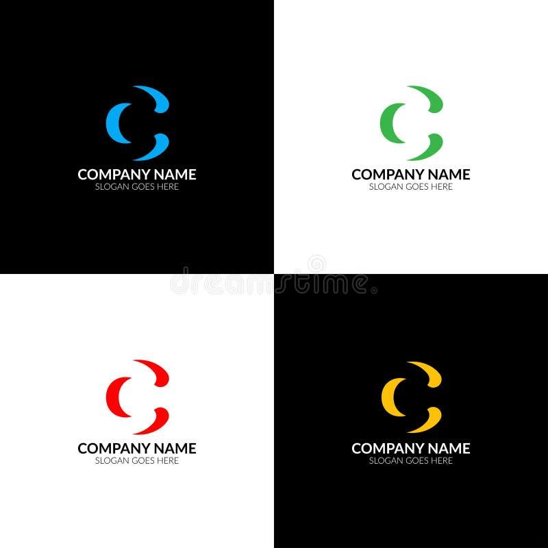Listowy c logo, ikony mieszkanie i wektorowy projekta szablon, Inwersja listu c logotyp dla gatunku lub firma z tekstem ilustracji
