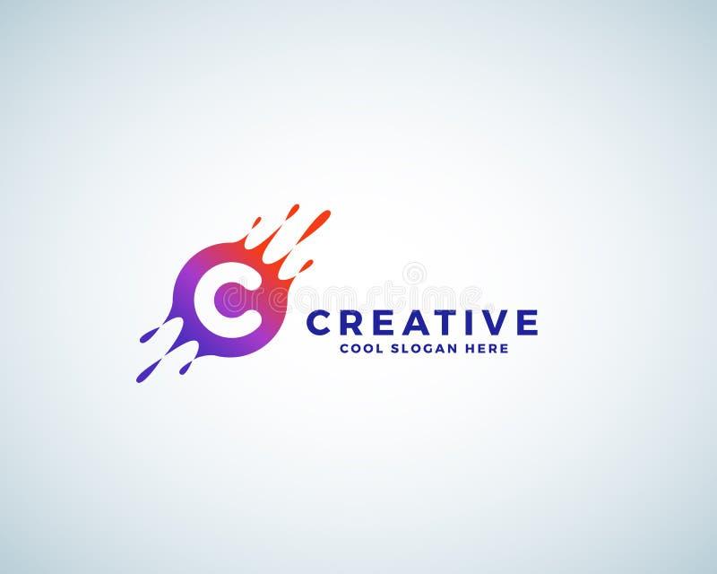 Listowy C Wcielający w Kolorowym Gradientowym kleksie z pluśnięciami Abstrakcjonistyczny wektoru znak, emblemat lub loga szablon, ilustracja wektor