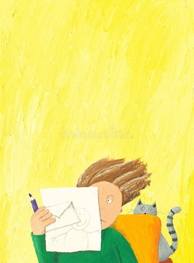 listowy chłopiec czytanie ilustracja wektor
