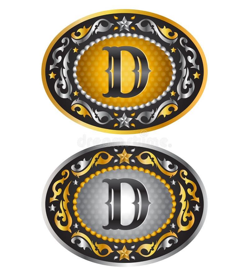 Listowy d - Kowbojska pasowa klamra ilustracji