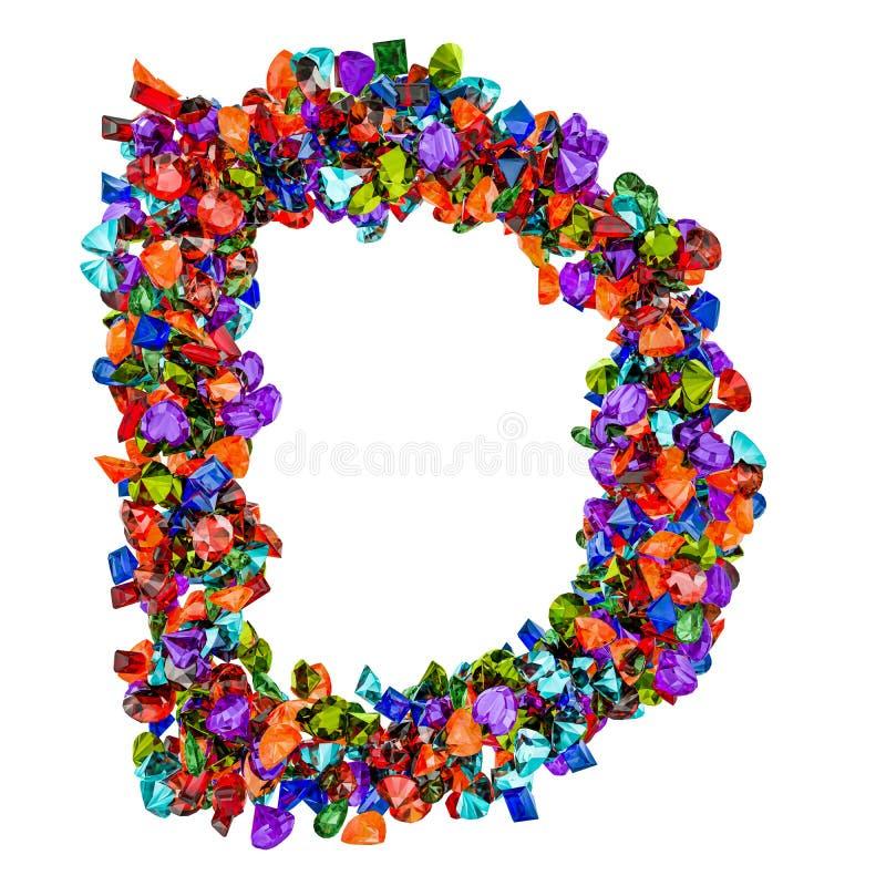 Listowy d od barwionych gemstones świadczenia 3 d ilustracja wektor