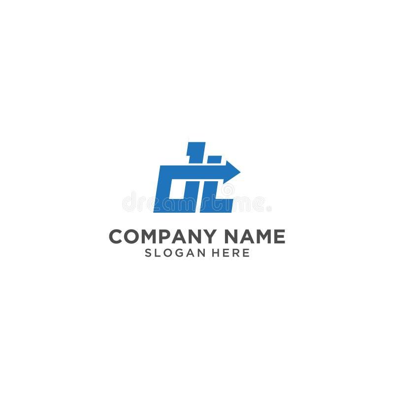 Listowy DT logo projekt ilustracja wektor