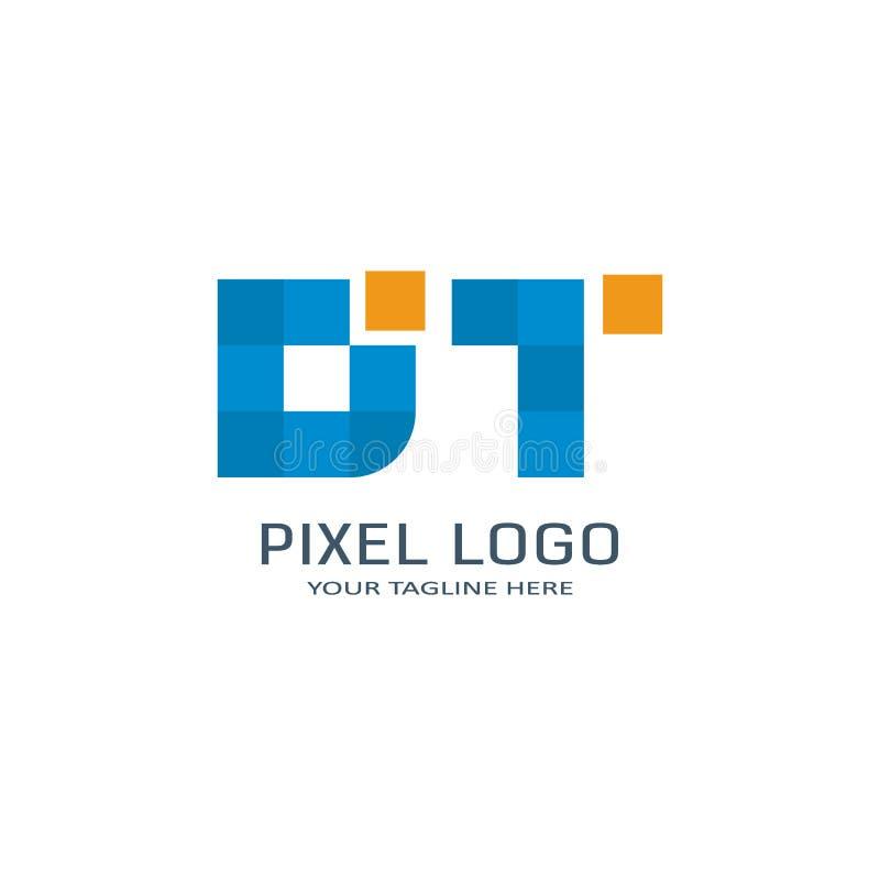Listowy DT piksla logo projekta szablon Abecadło piksla ruchu logo ilustracja wektor