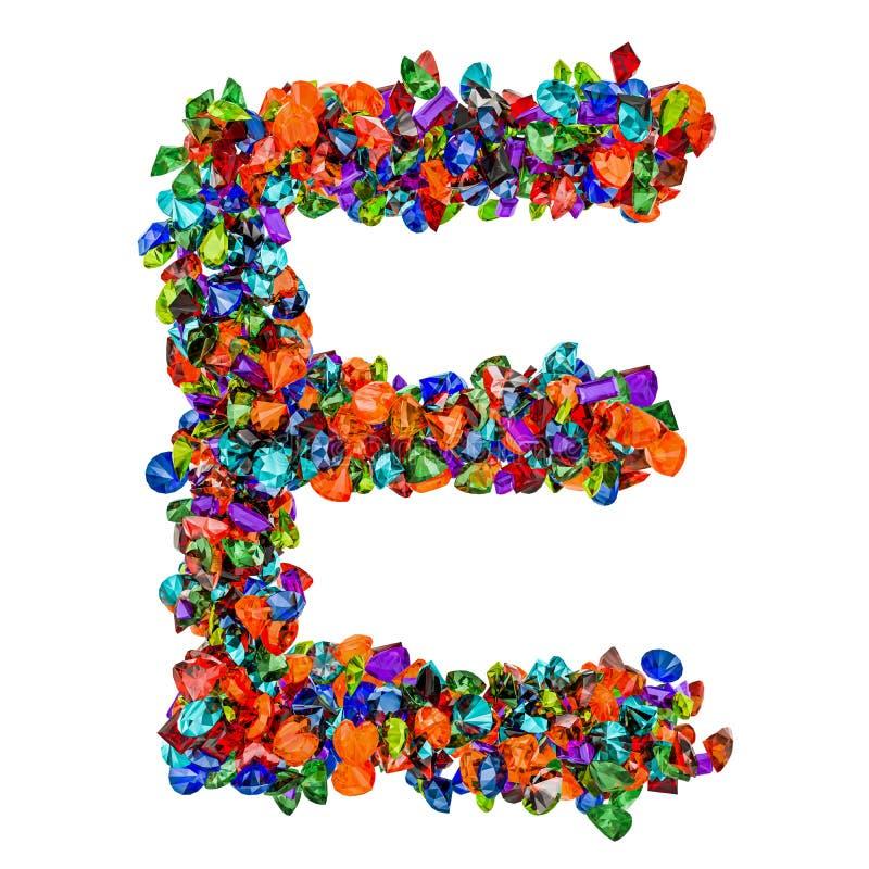Listowy E od barwionych gemstones ?wiadczenia 3 d ilustracja wektor