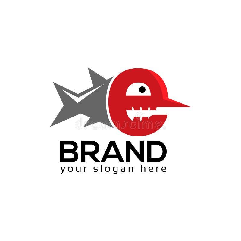 Listowy E rybiego zapasu logo szablon P?aski projekt ilustracja wektor