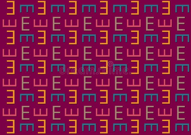 Listowy E wzór w różnym barwionym cienia wzorze ilustracja wektor