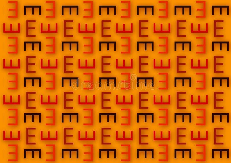 Listowy E wzór w różnym barwionym cienia wzorze royalty ilustracja